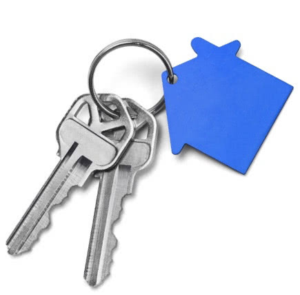 Two keys on a keychain with a house silhouette